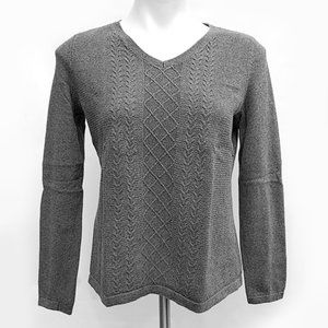 Talbots Petite Cotton Long Sleeve Cable Sweater MP